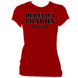 red women's fitted t-shirt with Derelict London logo