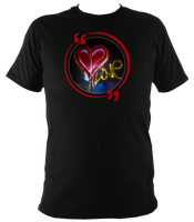 Black unisex t-shirt with graffiti love heart art work