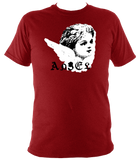 red unisex t-shirt with punk angel print