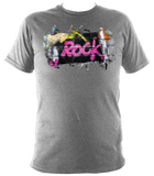 grey unisex t-shirt with graffiti rock motif