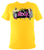 gold# green unisex t-shirt with graffiti rock motif