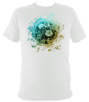 white unisex t-shirt with vintage rose motif