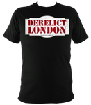 black unisex t-shirt with Derelict London logo