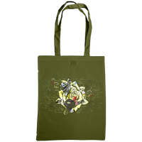 olive tote bag with distressed rose print