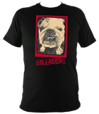 black unisex t-shirt with bulldog bollocks print