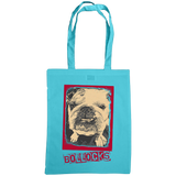 sky blue tote bag with bulldog bollocks print