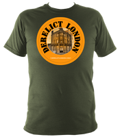 military green derelict london t-shirt in unisex style