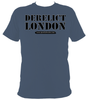 greyblue unisex t-shirt with Derelict London logo