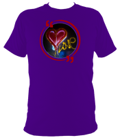 Purple unisex t-shirt with graffiti love heart art work