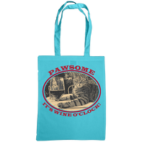 "blue tote bag with cat and slogan ""Pawsome It's wine o'clock"""