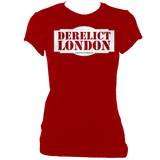 red blue women's fitted t-shirt with Derelict London logo
