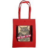 red you talkin'n to me with cat slogan tote bag