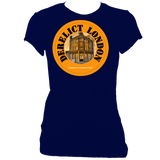 navy women's fitted tee with derelict london logo
