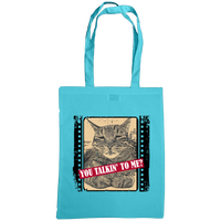 surf blue you talkin'n to me with cat slogan tote bag
