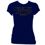 navy women's fitted t-shirt with Derelict London logo