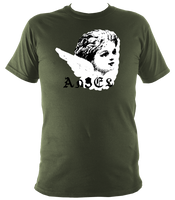 green unisex t-shirt with punk angel print