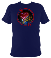Navy unisex t-shirt with graffiti love heart art work