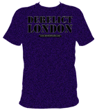 indigo unisex t-shirt with Derelict London logo