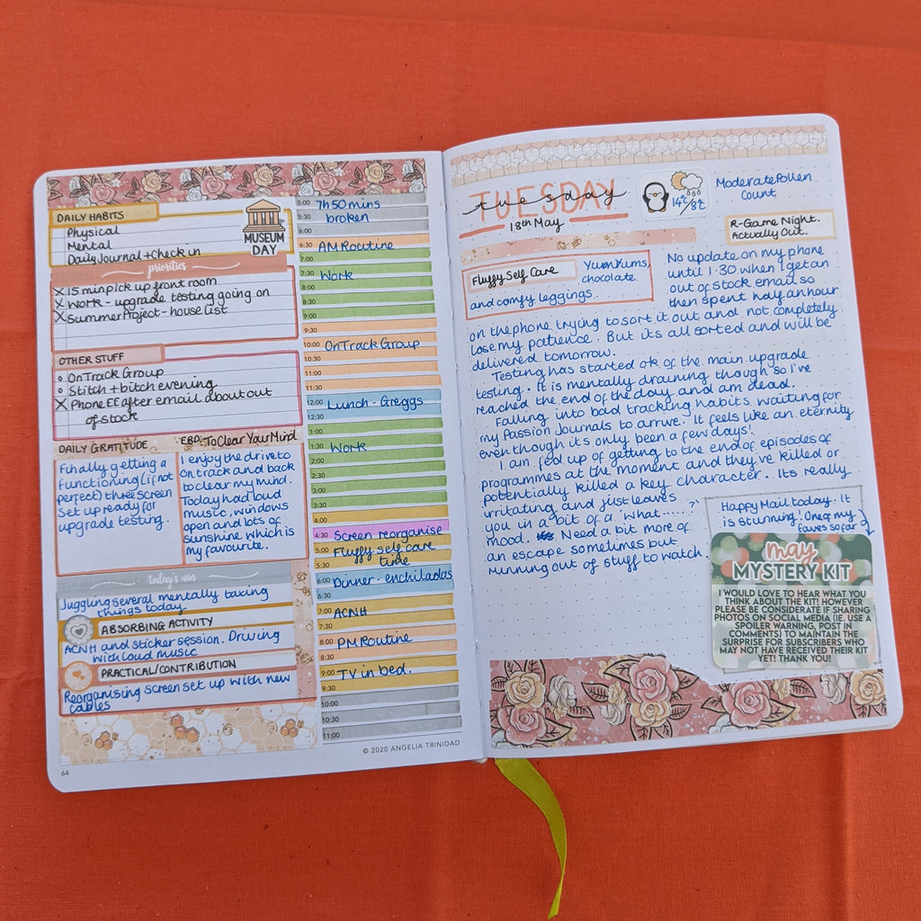 Gratitude in a Passion Planner daily with EBDUK stickers