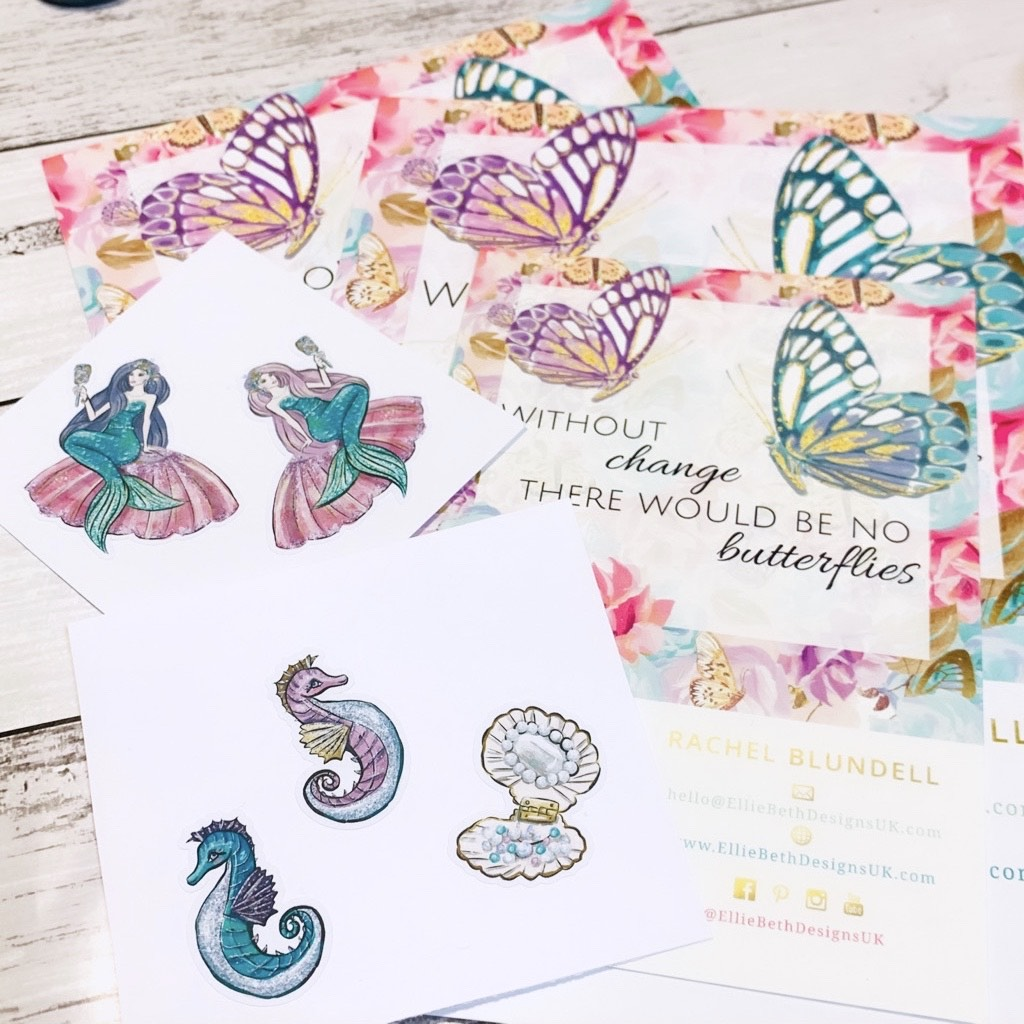 Mermaid and butterfly stickers