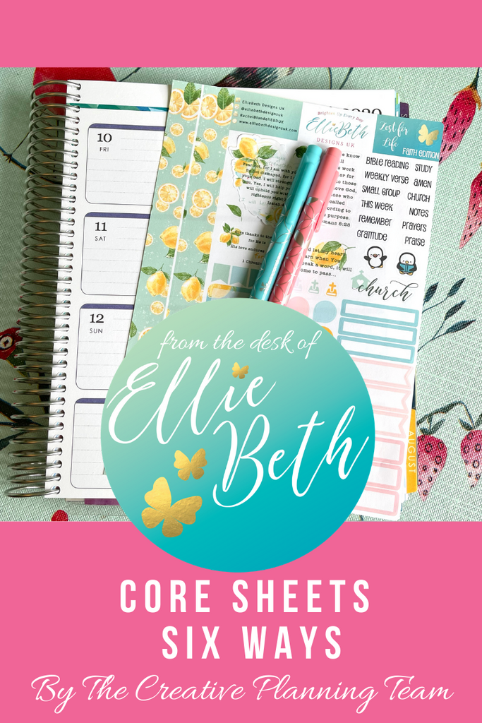 Core sheets from EBDUK in EC, Passion Planner and Hobonichi
