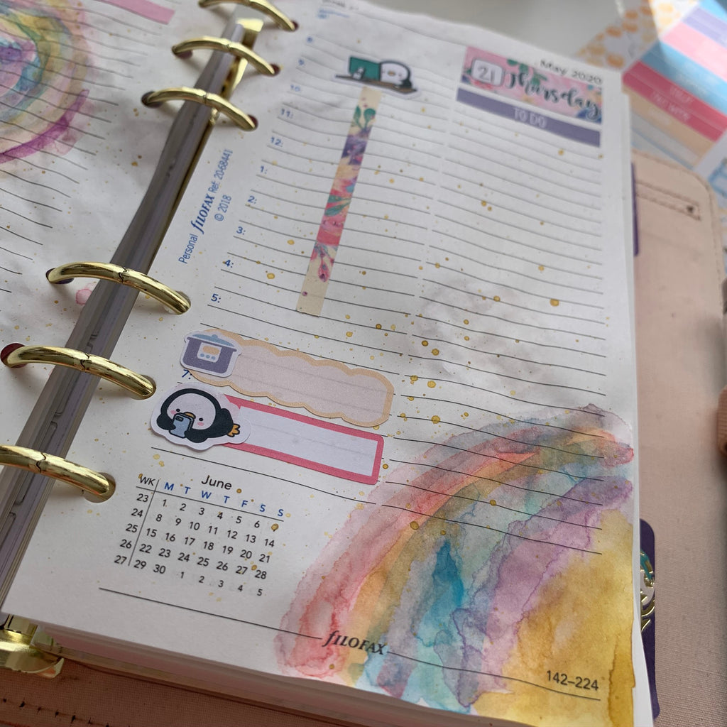 Watercolours in my personal size planner