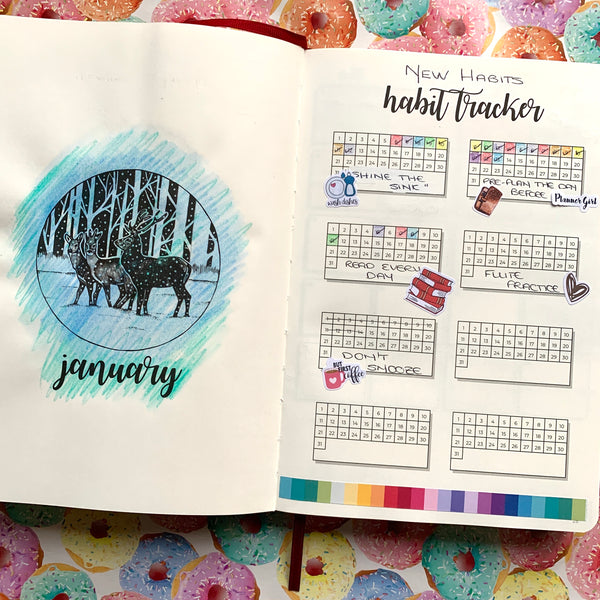 Decorated habit tracker pages