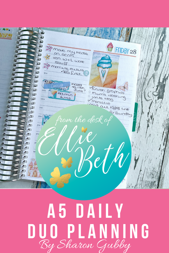Erin Condren A5 Daily Duo with EBDUK stickers
