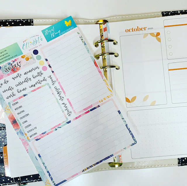 Notes page stickers from EBDUK in a Ring planner
