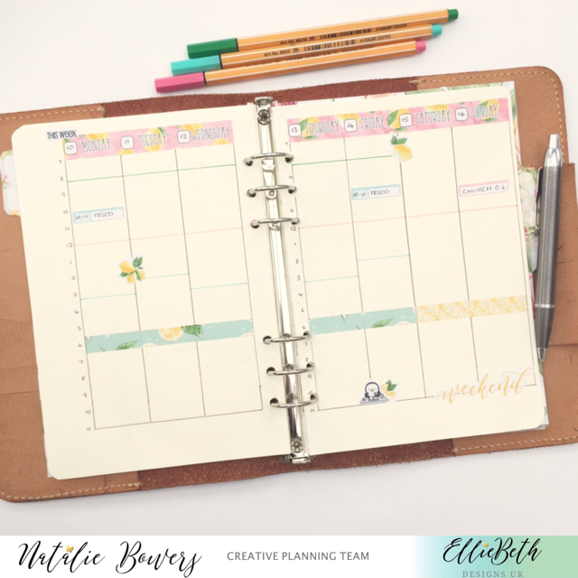 Six ring planner with EBDUK stickers