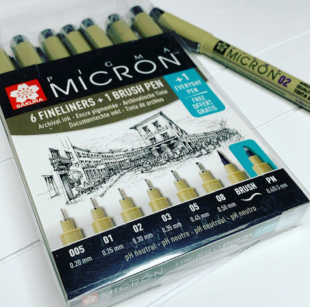 Micron pens with EBDUK stickers