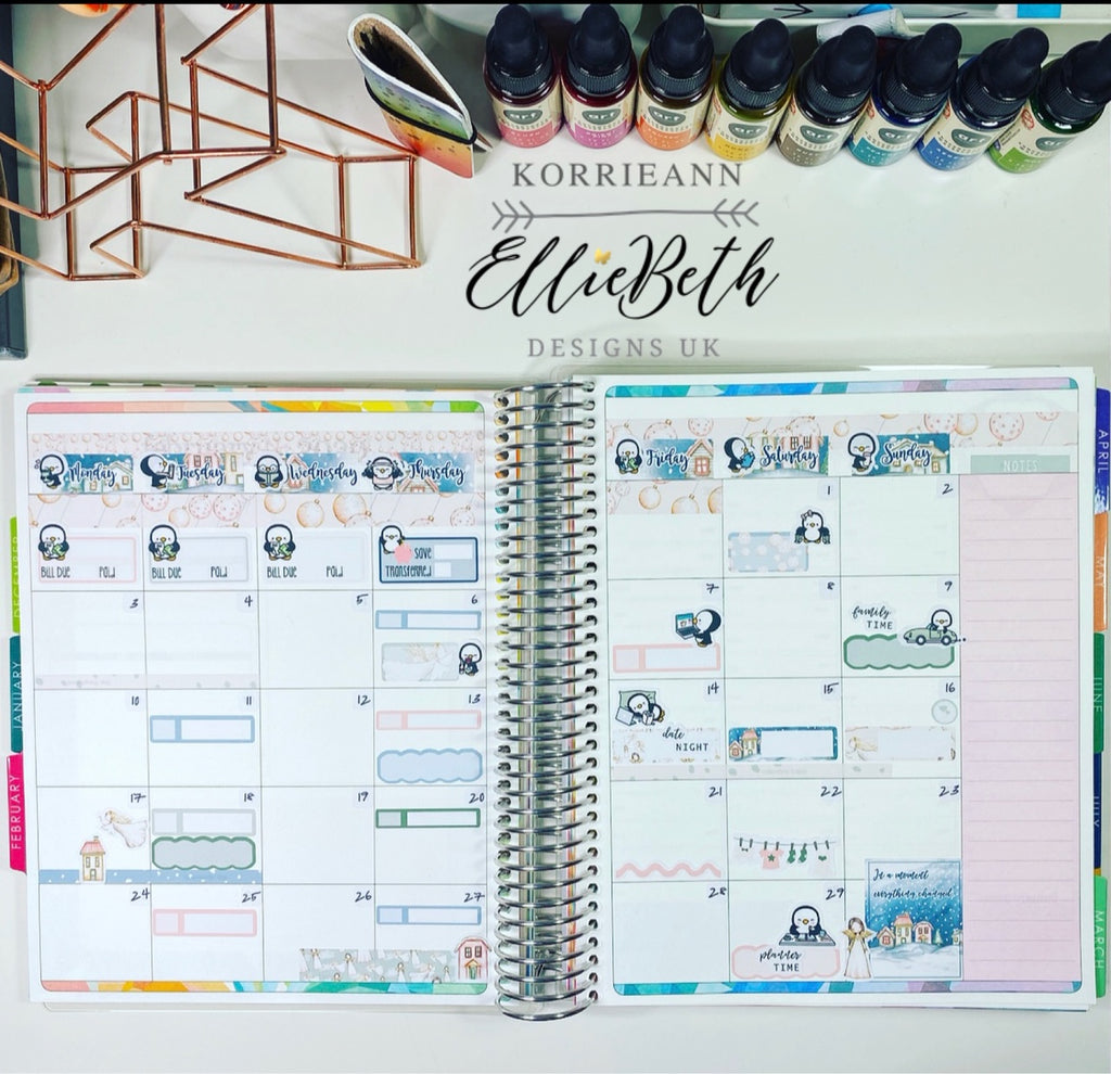 Monthly Erin Condren layout with EllieBeth Designs stickers