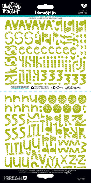 'Olive You' Homespun Green Alpha Stickers by Illustrated Faith - EllieBeth Designs UK
