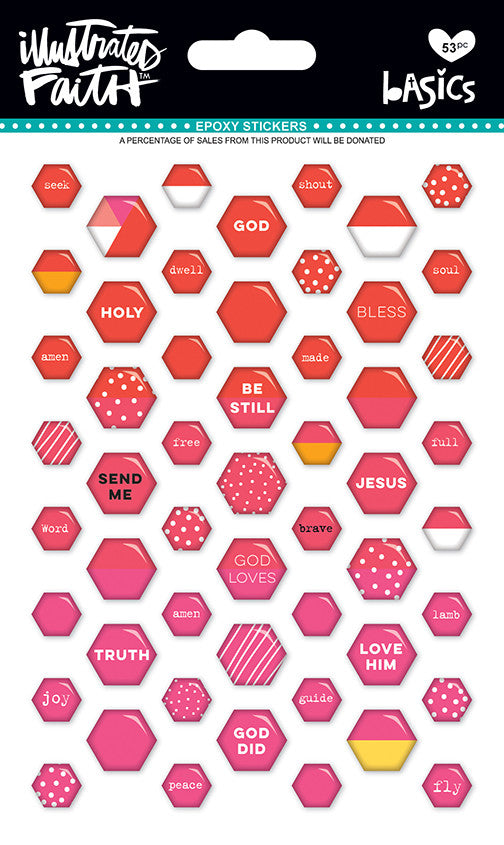 Apple of My Eye Mix Mini Hexies Stickers by Illustrated Faith - EllieBeth Designs UK