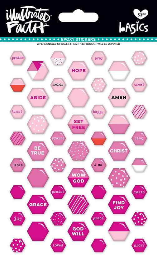 Bless Her Heart Mix Mini Hexies Stickers by Illustrated Faith - EllieBeth Designs UK