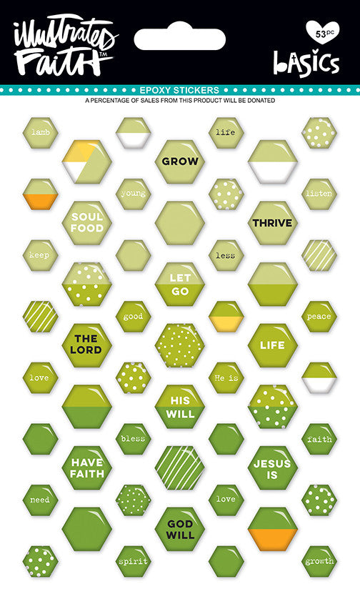 Olive You Mix Mini Hexies Stickers by Illustrated Faith - EllieBeth Designs UK