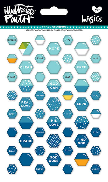 Mrs Blueberry Mix Mini Hexies Stickers by Illustrated Faith