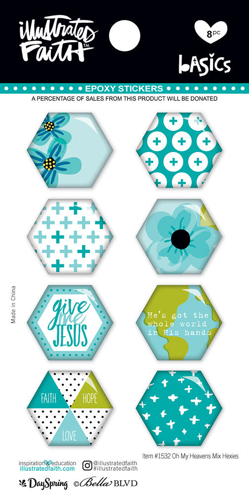 Oh My Heavens Hexies Stickers by Illustrated Faith - EllieBeth Designs UK