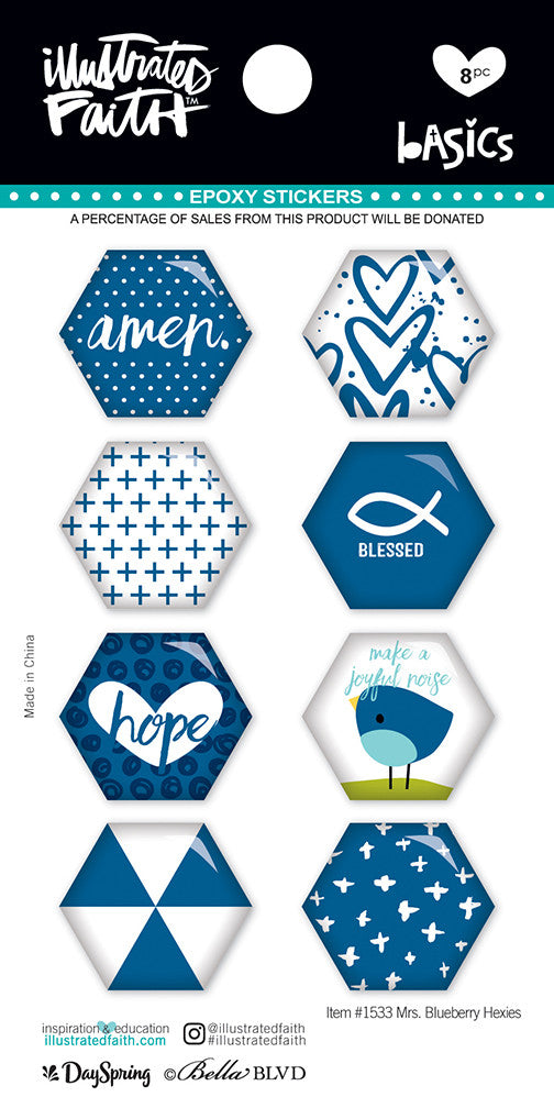 Mrs Blueberry Hexies Stickers by Illustrated Faith