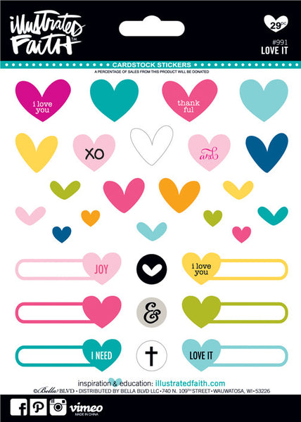 'Love It' Stickers by Illustrated Faith - EllieBeth Designs UK