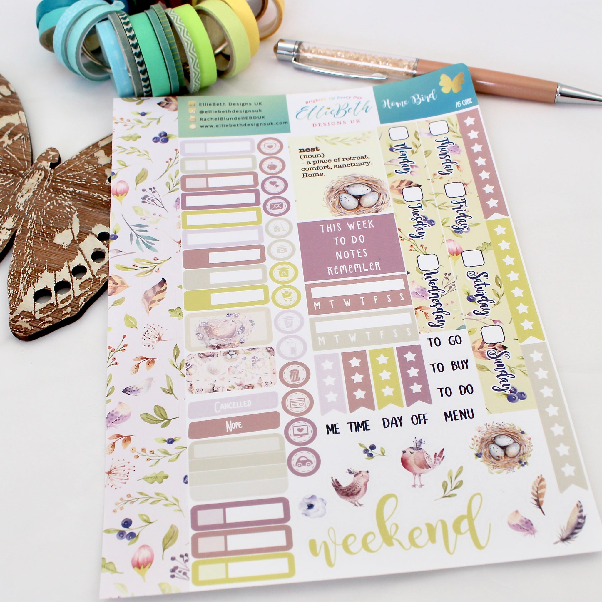 'Home Bird' - A5 Core Sheet - A5 binder ready planner stickers - EllieBeth Designs UK