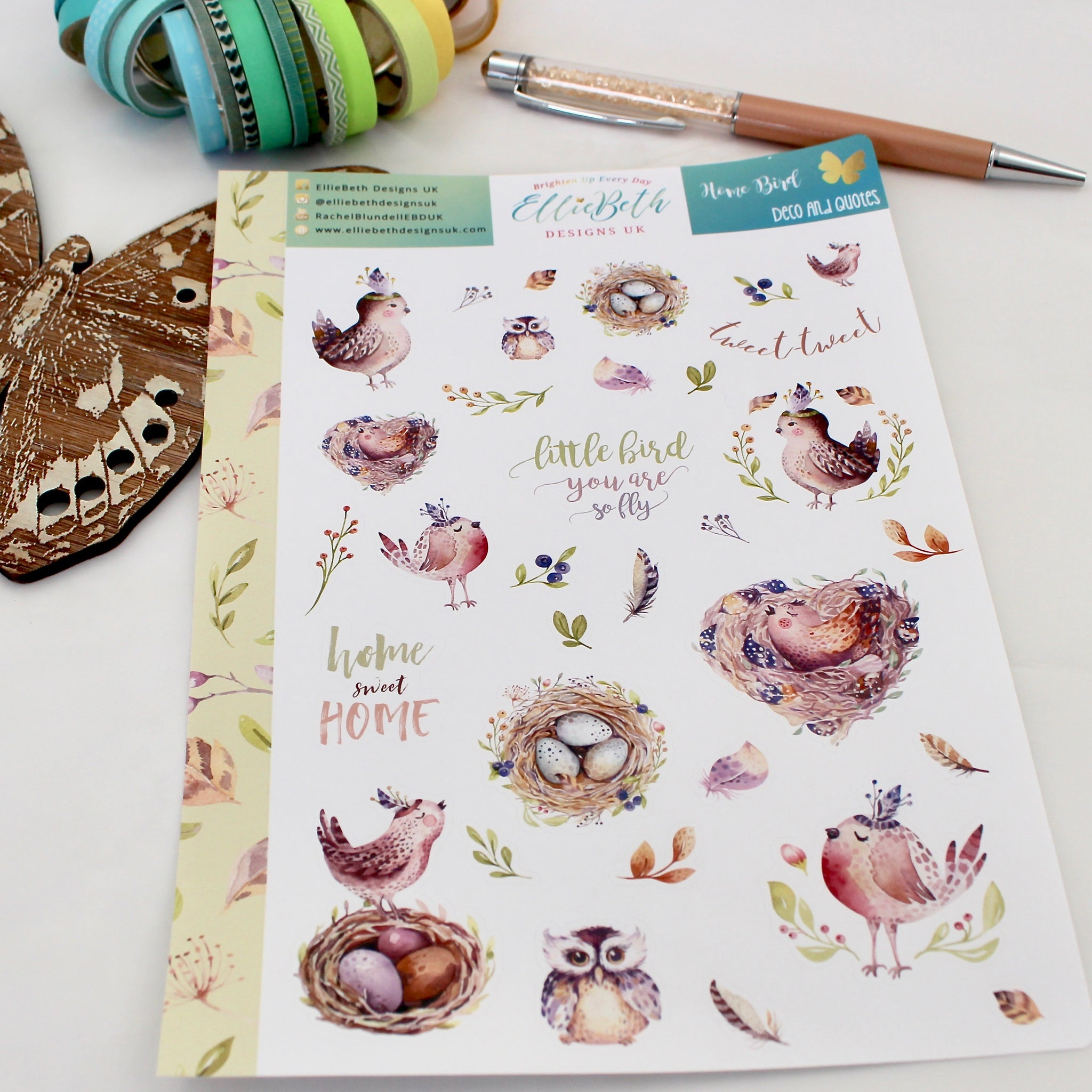 'Home Bird' - Decorative Sheet -  A5 binder ready planner stickers