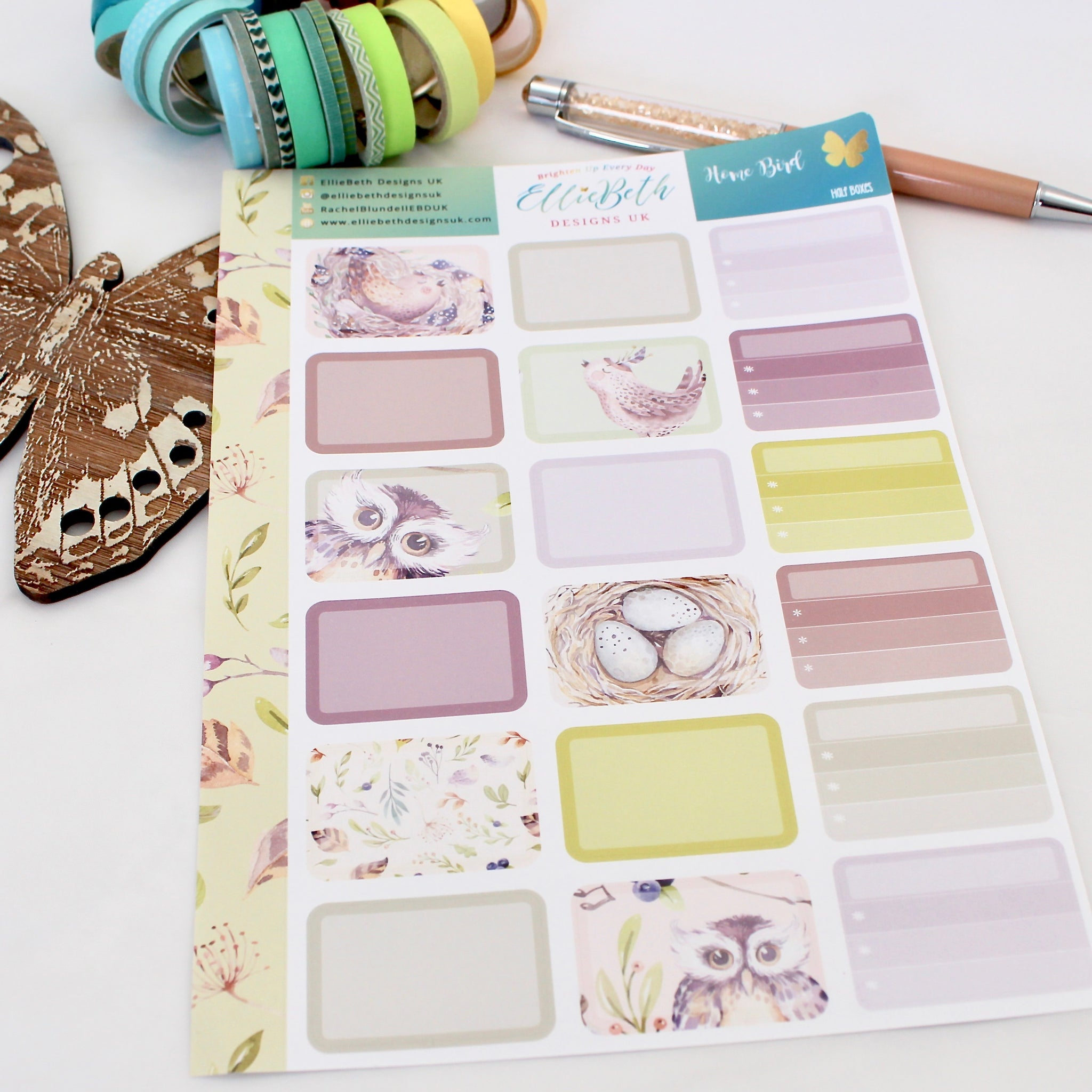 'Home Bird' - Half Boxes -  A5 binder ready planner stickers