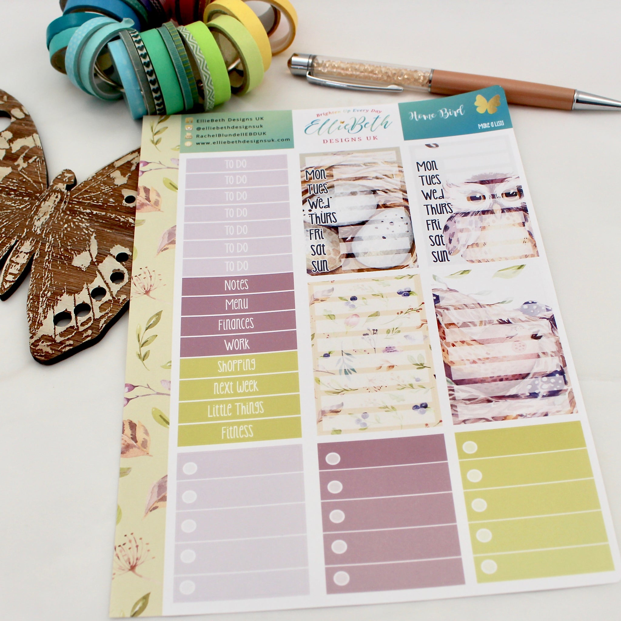 'Home Bird' - Make a List Sheet -  A5 binder ready planner stickers