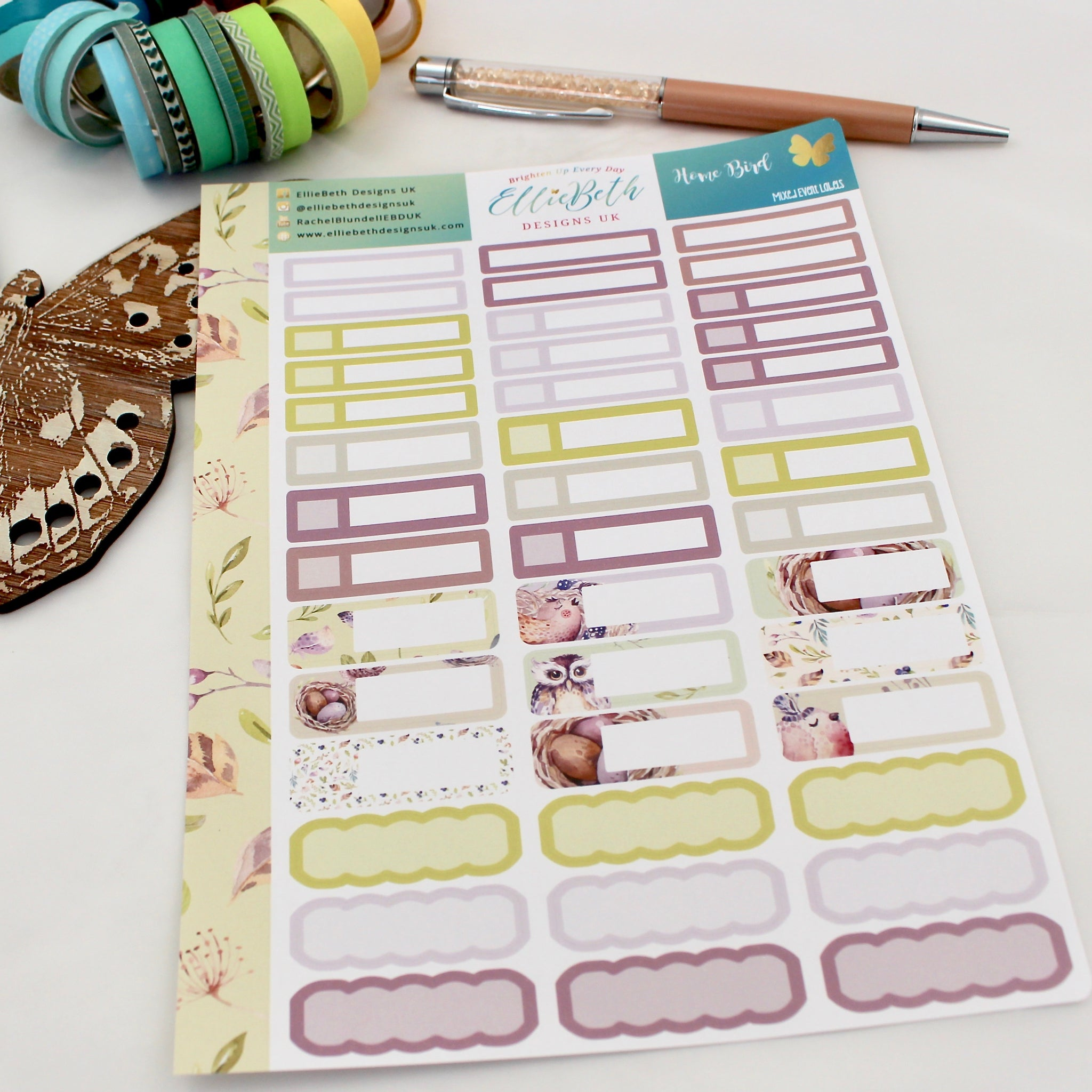 'Home Bird' - Mixed Event Labels -  A5 binder ready planner stickers - EllieBeth Designs UK