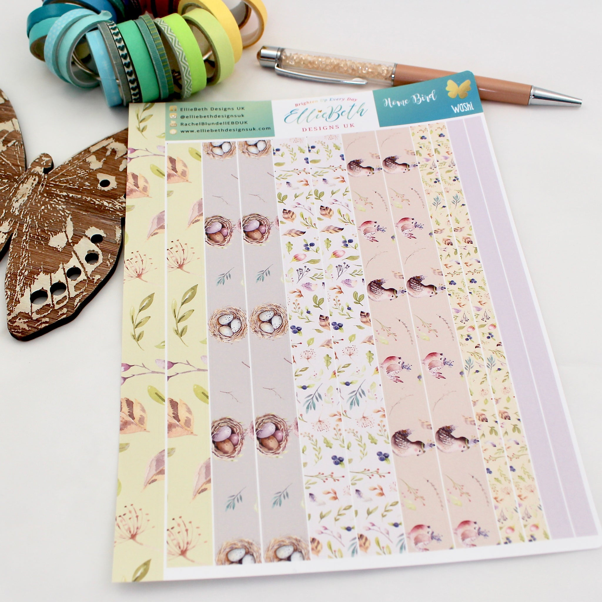 'Home Bird' - Washi Strips -  A5 binder ready planner stickers