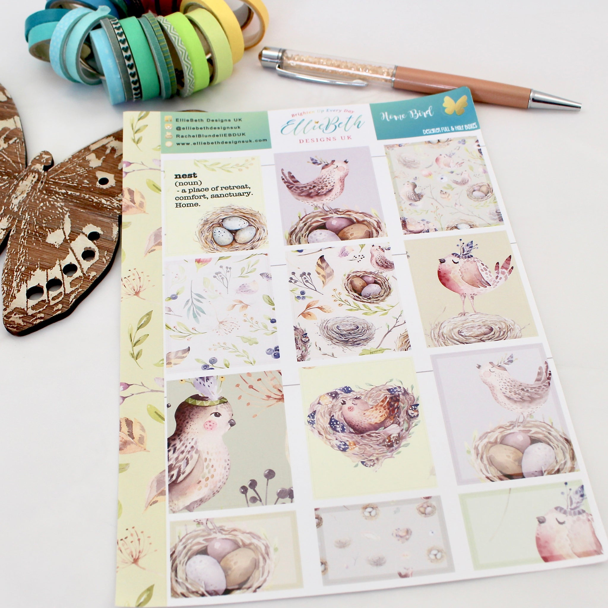 'Home Bird' - Designer Full and Half Boxes Sheet -  A5 binder ready planner stickers - EllieBeth Designs UK