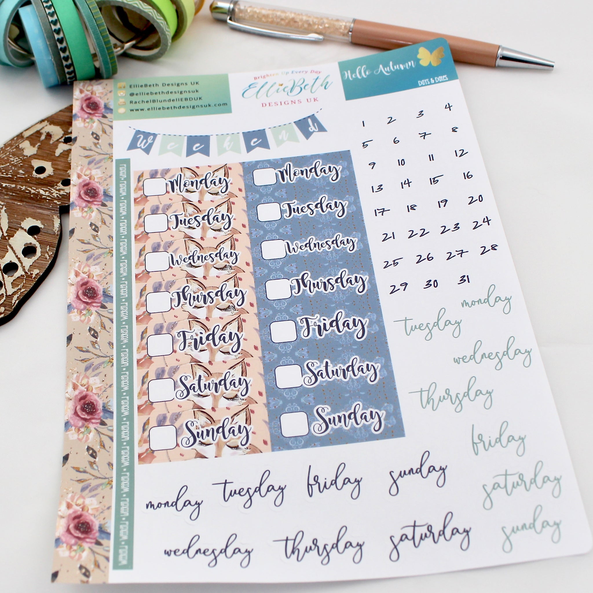 'Hello Autumn' - Days and Dates - A5 binder ready planner stickers