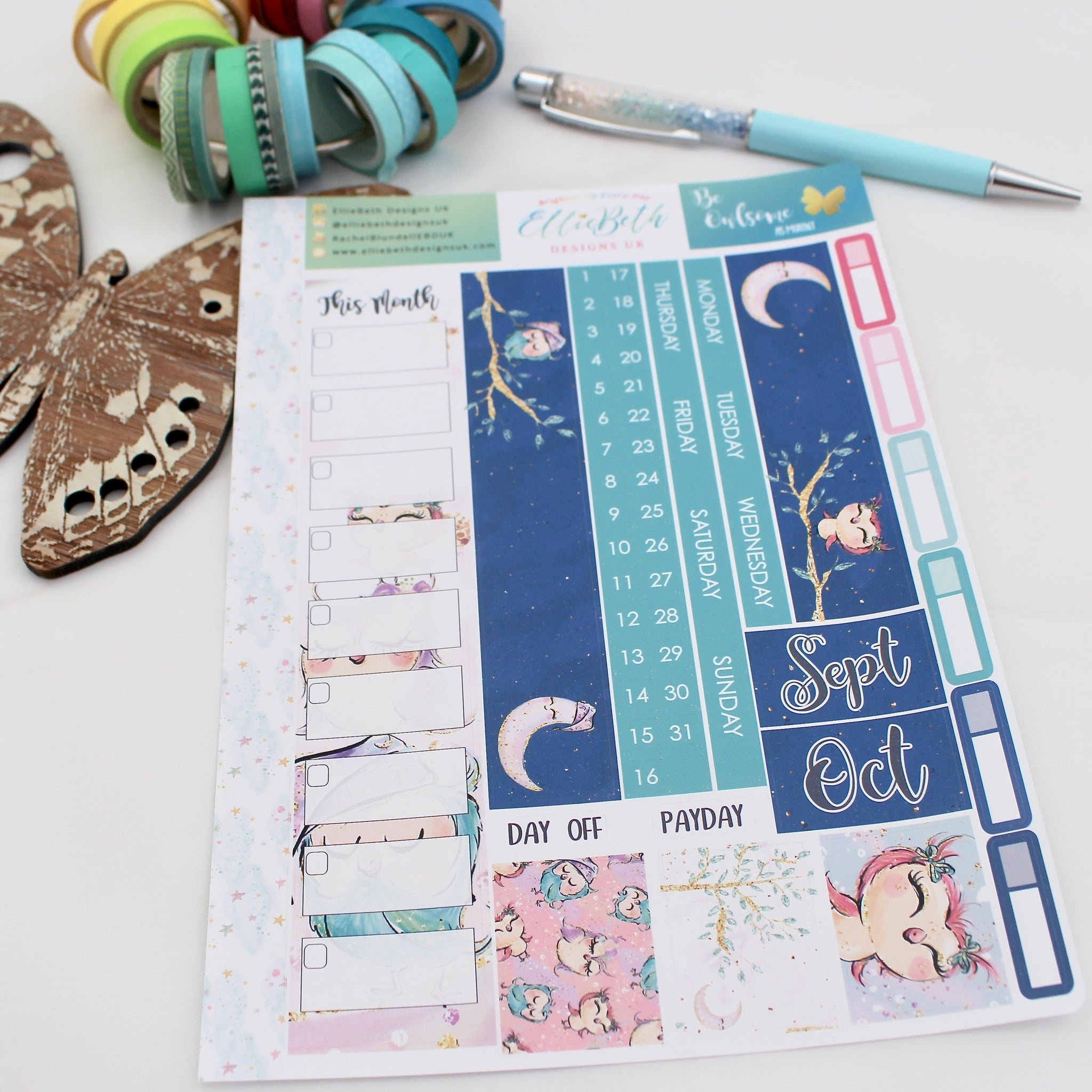 'Be Owlsome' - A5 Monthly View Kit - A5 binder ready planner stickers