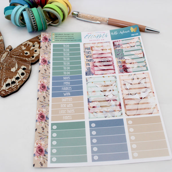 'Hello Autumn' - Make a List Sheet -  A5 binder ready planner stickers - EllieBeth Designs UK